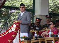 संविधान दिवसका अवसरमा मूल समारोह समितिद्वारा बुधबार काठमाडौँको टुँडिखेलमा राष्ट्रपति विद्यादेवी भण्डारीको समुपस्थितिमा आयोजित समारोहलाई सम्बोधन गर्दै प्रधानमन्त्री केपी शर्मा ओली। तस्बिर: रासस