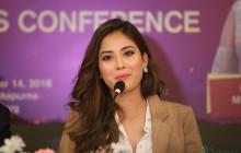मिस नेपाल शृंखला खतिवडा चीनमा सम्पन्न मिस वर्ल्डमा सहभागी भएर नेपाल फर्किएपछि आयोजित पत्रकार सम्मेलनमा सम्बोधन गर्दै। तस्बिरः निशा भण्डारी