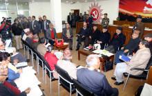 नेपाल कम्युनिष्ट पार्टी केन्द्रीय कार्यालय धुम्बाराहीमा शनिबार प्रधानमन्त्री तथा पार्टीका अध्यक्ष केपी शर्मा ओलीको अध्यक्षतामा बसेको स्थायी कमिटीको बैठक । तस्बिर : रासस