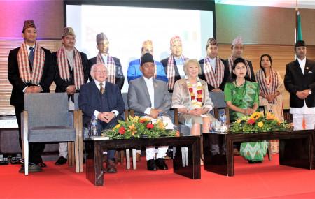 नेपाल र आयरल्याण्डबीच दौत्य सम्वन्ध स्थापनाको बीसौं वर्षको अवसरमा आयोजित कार्यक्रममा उपस्थित आयरल्याण्डका राष्ट्रपति माइकल डी. हिगिन्स लगायत विशिष्ठ अतिथिहरू। तस्बिरः नेपाली दूतावास लण्डन