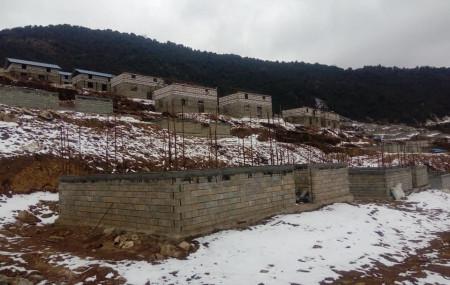 एनआरएनएले पुनर्निर्माण गरिरहेको गोरखाको लाप्राकस्थित गुप्सीपाखा। तस्वीर: तुले गुरुङ